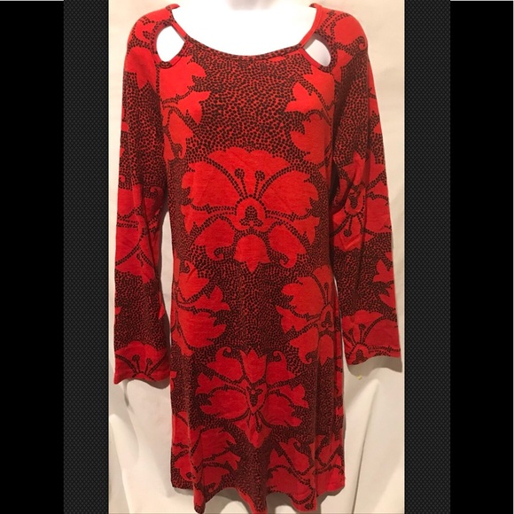 Aryeh Dresses & Skirts - ARYEH Red Black Knit Sweater Midi Geometric Floral